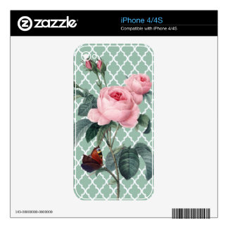 Green Rose Orient iPhone 4 Skins
