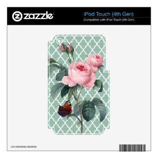 Green Rose Orient iPod Touch 4G Decals