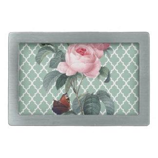 Green Rose Orient Rectangular Belt Buckle