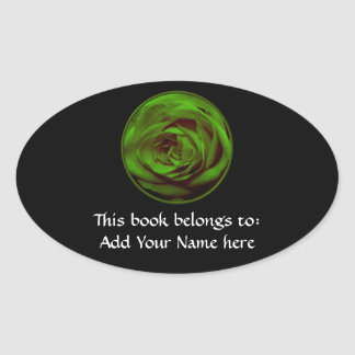 Green Rose Oval Sticker