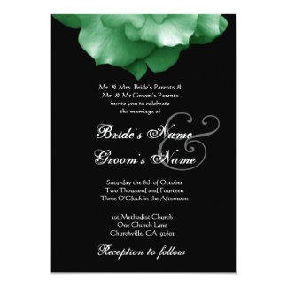 "GREEN Rose Petals Wedding Invitation 5"" X 7"" Invitation Card"