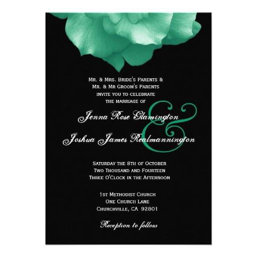 GREEN Rose Petals Wedding Template F006 Announcement