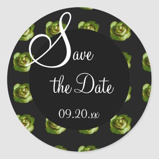 "Green Rose ""Save the Date"" Classic Round Sticker"