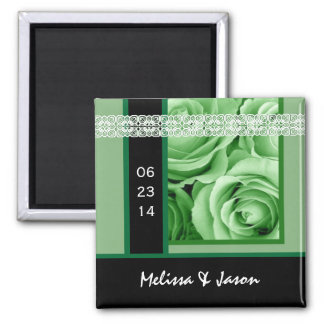 GREEN Roses  Bride & Groom Wedding Date 2 Inch Square Magnet