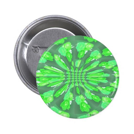 Green Roses Pattern 2 Inch Round Button
