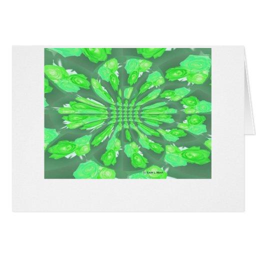 Green Roses Pattern Greeting Card