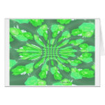 Green Roses Pattern Greeting Cards