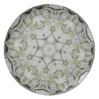 Green rosette Damask plate