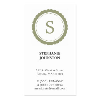 Green rosette monogram elegant personal calling Double-Sided standard business cards (Pack of 100)