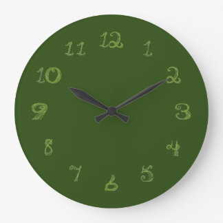 green round clock with fabric shape numbers