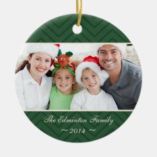 Green Round Family Custom Photo Christmas Ornament