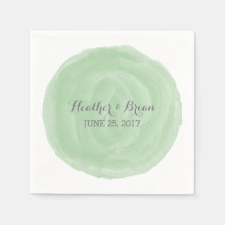 Green Round Watercolor Paper Napkins