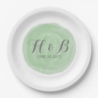 Green Round Watercolor Wedding Paper Plates 9 Inch Paper Plate
