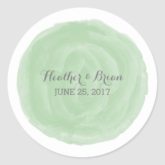 Green Round Watercolor Wedding Stickers