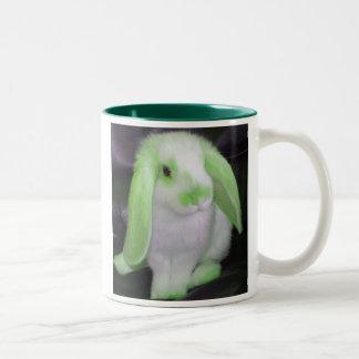 Green roxy rabbit Two-Tone coffee mug