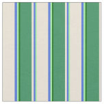 [ Thumbnail: Green, Royal Blue, Bisque, Sea Green & Dark Green Fabric ]