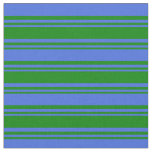 [ Thumbnail: Green & Royal Blue Colored Lined Pattern Fabric ]