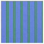 [ Thumbnail: Green & Royal Blue Lines Fabric ]