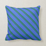 [ Thumbnail: Green & Royal Blue Lines Throw Pillow ]