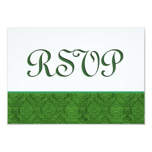 Green RSVP Damask Wedding C103 3.5x5 Paper Invitation Card
