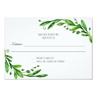 Green rsvp. Greenery response card. Garden wedding Card
