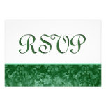 Green RSVP Grunge Damask Wedding Announcement