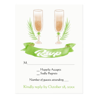Green RSVP Watercolor Champagne Glasses Wedding Postcard