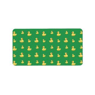 Green rubber duck pattern custom address label