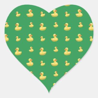 Green rubber duck pattern heart sticker