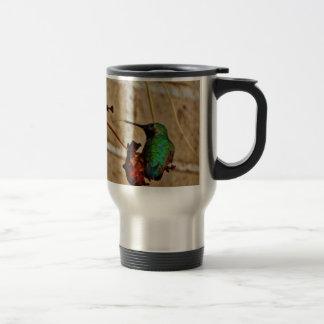 green ruby hummingbird 15 oz stainless steel travel mug