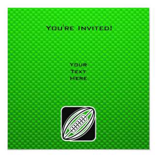 Green Rugby 5.25x5.25 Square Paper Invitation Card