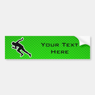 Green Running Car Bumper Sticker