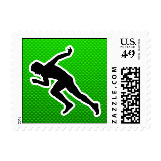 Green Running Postage Stamp
