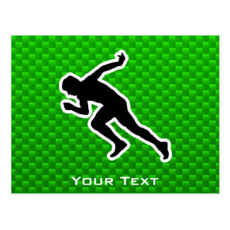 Green Running Post Card
