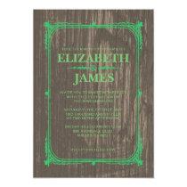Green Rustic Barn Wood Wedding Invitations Cards