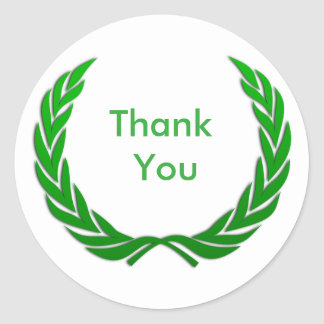 Green Rustic Laurel Wreath Thank You Classic Round Sticker
