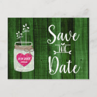 Green Rustic Mason Jar Wedding Save the Date Announcement Postcard