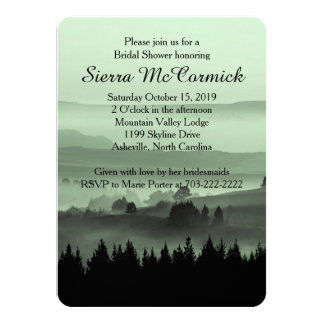 "Green Rustic Mountain Bridal Shower Invitation 4.5"" X 6.25"" Invitation Card"