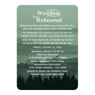 Green Rustic Mountain Wedding Rehearsal Dinner Card