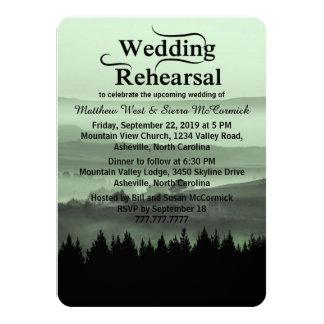 Green Rustic Mountain Wedding Rehearsal Dinner 4.5x6.25 Paper Invitation Card