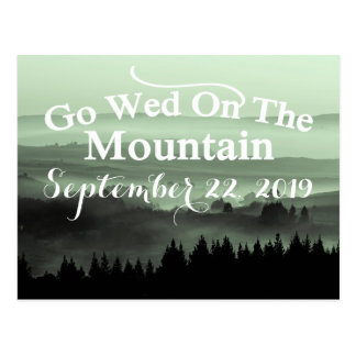 Green Rustic Mountain Wedding Save The Date Postcard