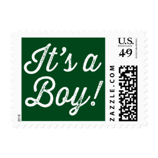 Green Rustic Script It's a Boy Baby Shower Postage