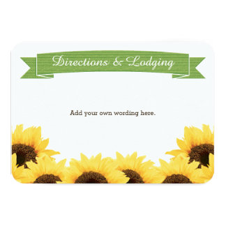 GREEN RUSTIC SUNFLOWER ENCLOSURE INSERT CARD