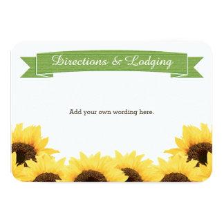 GREEN RUSTIC SUNFLOWER ENCLOSURE INSERT 3.5X5 PAPER INVITATION CARD
