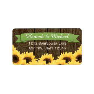 GREEN RUSTIC SUNFLOWER RETURN ADDRESS LABEL