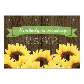 GREEN RUSTIC SUNFLOWER RSVP CARD PERSONALIZED INVITATION