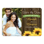 GREEN RUSTIC SUNFLOWER SAVE THE DATE CARD