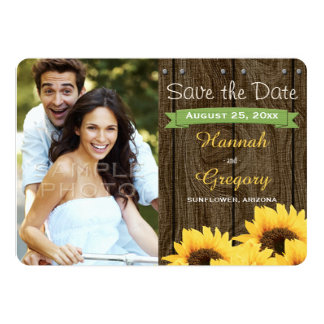 GREEN RUSTIC SUNFLOWER SAVE THE DATE CARD CUSTOM INVITATIONS