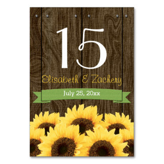 GREEN RUSTIC SUNFLOWER TABLE NUMBER CARD