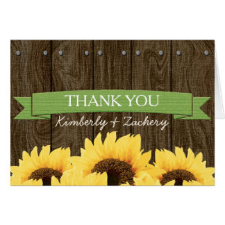 GREEN RUSTIC SUNFLOWER WEDDING THANK YOU CARD